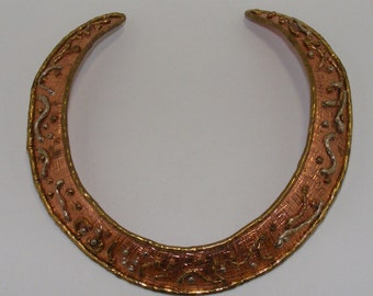 Vintage Textured Copper, Gold and Silver tone Collar Necklace