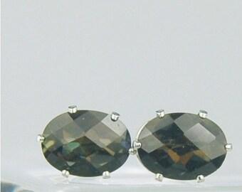 Memorial Day Sale Black Mystic Topaz Sterling Silver Stud Earrings 8x6mm Oval 3.15ctw