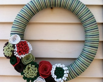 St. Ptrick's Day Wreath - St. Pattys Day Wreath - Holiday Wreath - Felt Flower Wreath - Yarn Wreath -Yarn Felt Wreath - Felt Wreath - Green