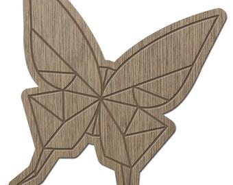 Butterfly - ORIGAMI - laser cut wood - brooch