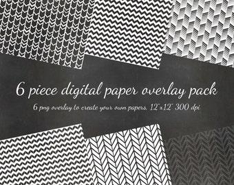 80% OFF SALE Digital Scrapbook 6 Piece Chevron Pattern Diy Paper PNG Overlay Pack - 6 Pattern Overlays to Diy - Digital Scrapbook Paper Pack
