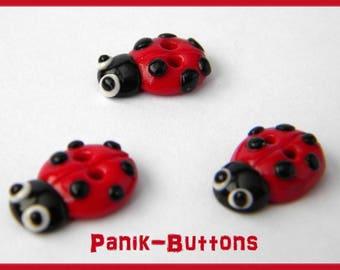 Button handmade Ladybug mini