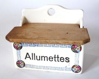 Antique matches box .  French Art-Deco kitchen decor . Stoneware matches box.