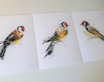 Set of 3 Giclee Prints: Goldfinch Series (Garden Bird Watercolour paintings)