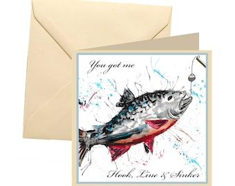 Fishing valentines card, valentines card, fishing valentines card, fun valentines card, lovers card, love you card