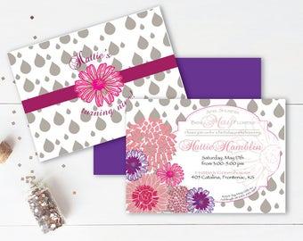 Baby Shower Invitation - flower theme - april flowers - may showers - digital - printable invitation - pink- baby sprinkle - custom