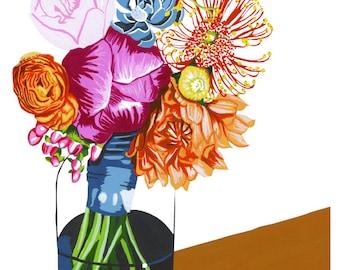 Summer Blossoms Watercolor Print