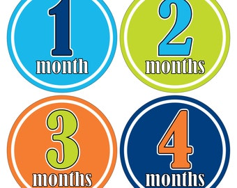 12 Monthly Baby Milestone Waterproof Glossy Stickers - Just Born - Newborn - Weekly stickers available - Design M003-02