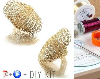 Cleopatra Shield Ring Crochet Kit, Ring Crochet Pattern, making jewelry kit, Unique DIY Gift, Crochet ring  DIY Kit, DIY craft projects