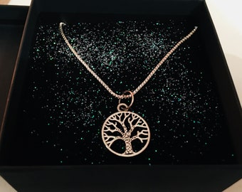 Vintage style tree of life sterling silver charm necklace