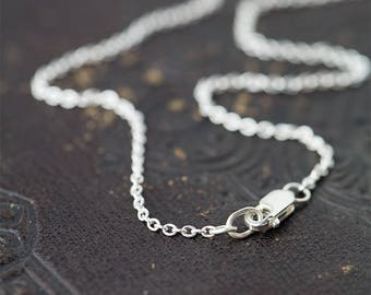 Sterling Silver Necklace - Cable Chain Necklace - Sterling Silver Jewelry - Handmade by Burnish