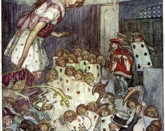 LARGE Alice On Trial. Alice in WONDERLAND Digital Download. VINTAGE Alice Illustration.