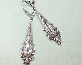 Bohemian Earrings Long Ear Dangles Sterling Silver Art Deco Earrings