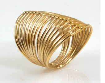 Unique Gold Ring , Big Wide Statement Gold Ring , 14K Yellow Gold Ring, Stacking Ring , Wires Gold Ring , Designed Ring