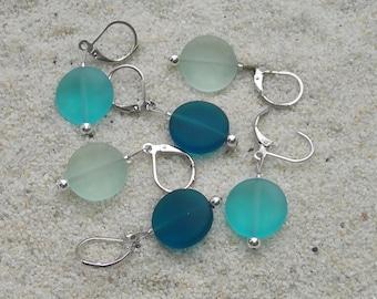 Sea Glass Crochet Stitch Markers - Knitting Stitch Markers - Removable Stitch Markers - 15mm teal turquoise green beach glass - set of 6