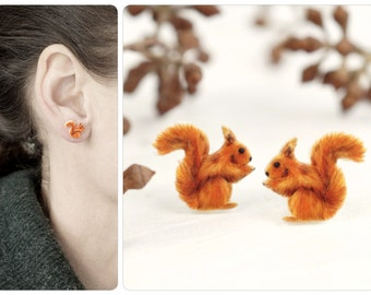 Squirrels, Earring squirrel, squirrel earring, drawing squirrel, squirrel jewelry, nature lover gift, animal lover gift, woodland jewelry