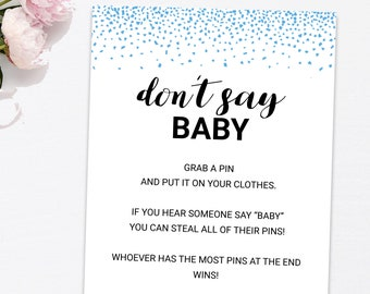 Boy Don't Say Baby Game Printable, Dont Say Baby Sign, Blue Confetti Sprinkles Baby Shower Games, Instant Download PDF
