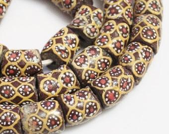 Brown African Flower Glass Beads(8), Krobo Beads , Ethnic Beads (H112)