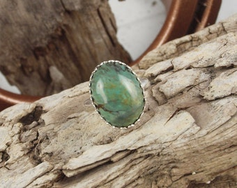 Sterling Silver Ring -Green Kingman Turquoise Ring -Statement Ring - Friendship Ring  with a 13mm x 18mm GenuineKingman Turquoise Stone
