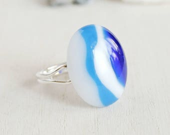 Adjustable Fused Glass Ring, Blue White Glass Ring, Artisan Oval Cabochon Statement Ring, Summer Jewelry,  Art Glass 3rd  Anniversary Gift