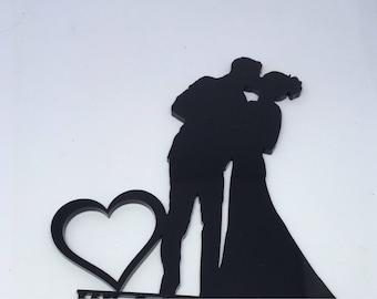 Kissing couple cake topper, silhouette cake topper, cake topper, bride and groom, couple, mr and mrs