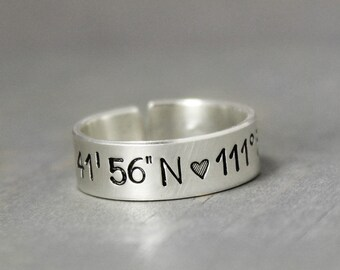 Coordinate Ring, Silver Coordinate Ring, Hand Stamped Rings, Custom Coordinates Personalized Jewelry, Sterling Coordinate Ring,
