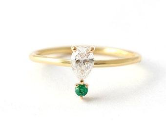 Pear Diamond Engagement Ring, Emerald Engagement Ring, Diamond Ring, Emerald Ring, Pear Cut Diamond Ring, Tear Drop Engagement Ring