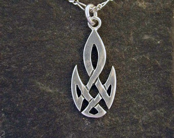 Sterling Silver Celtic Flame Pendant on a Sterling Silver Chain