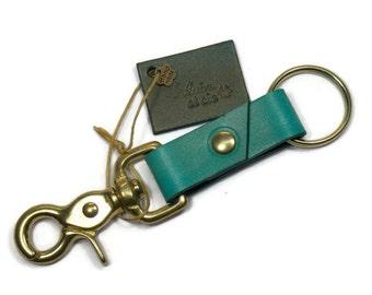 Leather key ring, key chain, leather key chain, leather key fob, turquoise key ring, brass key ring, brass key fob, ring for keys