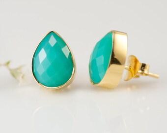 Chrysoprase Stud Earrings - Gemstone Studs - Tear Drop Studs - Gold Stud Earrings - Post Earrings