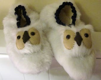Snowy Owl Slippers White Owl Slippers Made to Measure Gender Neutral Made to Order Cosy Footwear Fun Gift for Him Unusual Girl Friend Gift.