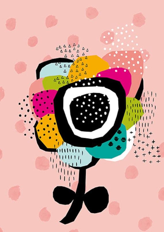 SALE Pale Pink Geometric Daisy Wall art print kids decor