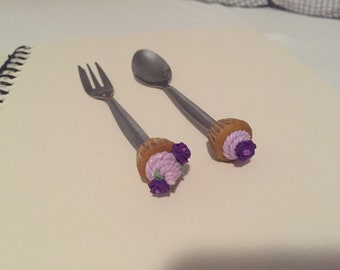 Polymer clay cupcake cutlery