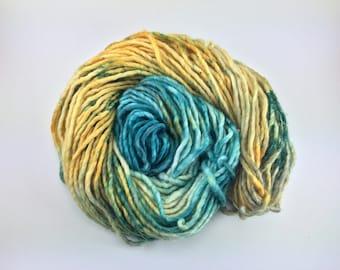 FOLLOW the BUTTERFLIES     Hand dyed yarn     Single Ply Super Bulky     Super Bulky weight yarn     80/20 SW Merino/Nylon     100g