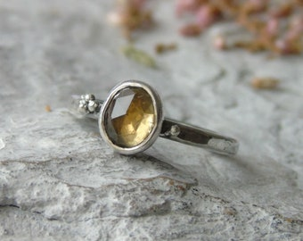 Tourmaline ring, Oxidized Silver ring, Yellow Natural Tourmaline ring, Rose Cut Tourmaline ring, Artisan ring