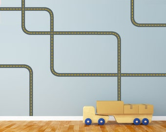 Wall Decals Gray Road with Yellow Lines Curved & Straight, Removable and Reusable