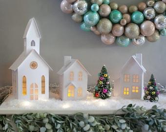 Christmas Village Set of 3 White, Foldable Pop-Up Houses, Putz Village, Christmas Decor