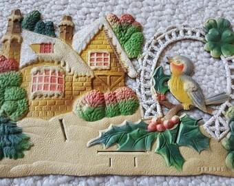 Vintage German Die Cut Embossed Calendar Topper Cottage Blue Bird Robin Holly Shamrocks