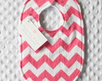 Baby Girl Bib // Dark Pink Chevron Bib // Pink Chevron Bib // Chevron Bib // Newborn Girl Bib // Toddler Girl Bib // New Baby Gift