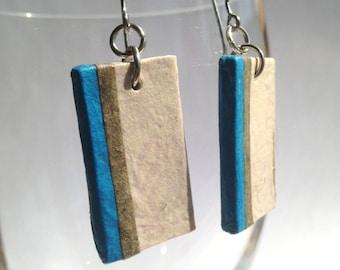 Striped Hanji Paper Dangle Earrings OOAK Striped Ivory Blue Green Hypoallergenic hooks Lightweight