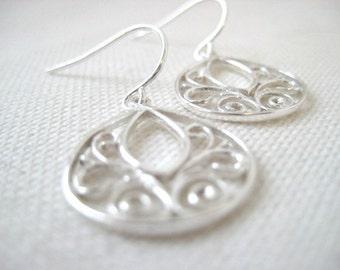 Simply Sterling, Genevieve Earrings, Sterling Silver Filigree Teardrops