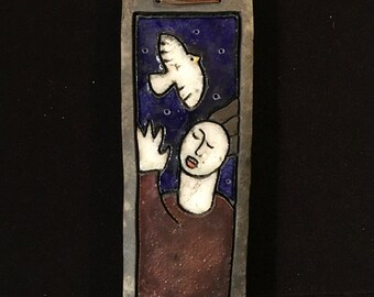 Art Pottery Wall Tile Signed A'Court Woman and Dove of Peace New Zealand Pottery