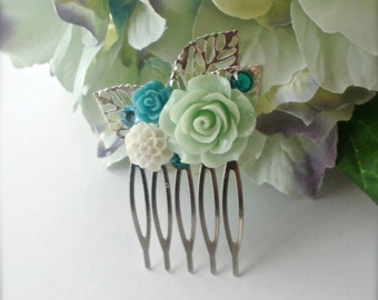 Mint Rose Hair Comb, Flower Collage Silver Leaves Comb, Mint, Blue, White Flower Collage Hair Comb, Bridesmaids, Wedding Party, Gift for Her