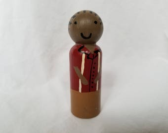Peg People - Wooden Doll - Handpainted - Black Hair - Braided - Red - Ungendered - Montessori - Waldorf - Sensory - Izzy&Coco