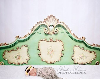 8ft x 5ft Fancy Bed Headboard Backdrop for Photography - Boudoir or Kid's Headboard Drop - Green and Gold Bed Photo Back Drop - Item 1377