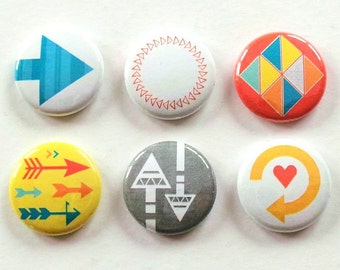 Arrows And Triangles Flair Buttons, Arrows Scrapbooking Flair Badges, Arrows Flair, Pocket Scrapbooking Embellishments, Geometric Flair