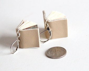 Book Earrings, Tan Leather Books, Mini Books, Book Lover, Little Book, Miniature, Book Gift, Leather Sketchbook, Earrings, Geek, Reader