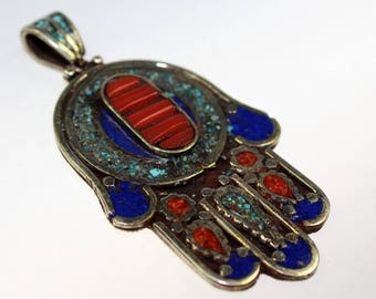 Fatimas Hand Pendant, Chamsa Pendant with Coral, Lapis and Turquoise, Tibetan Pendant, Ethnic Jewelry, Nepalese, Asian Jewelry