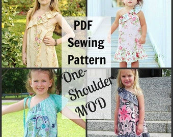 One-Shoulder MOD Whimsy Couture Sewing Tutorial PDF modify any existing pattern with - Instant