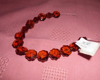 15 Deep Amber Faceted Czech Glass Beads 12 mm Scalloped Edges Floral Shaped
